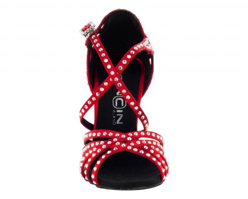 Scarpa Da Ballo Limited Edition In Raso Rosso Con Listini Incrociati 5 Fasce Tacco 10 Cm Front