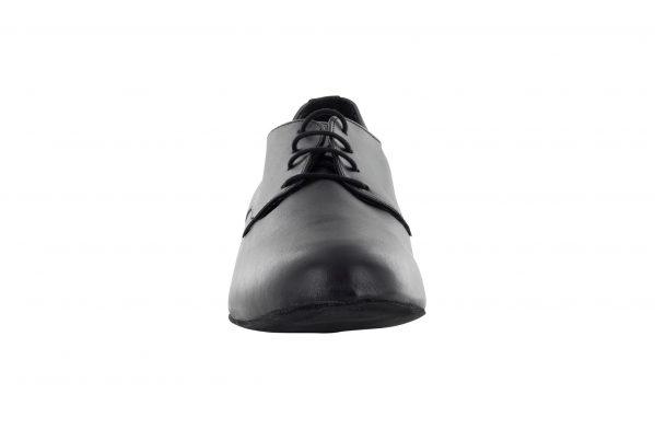 Scarpa Ballo Stringata Pelle Nero Modello Derby Tacco 25 Cm Front