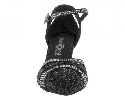 Scarpa Da Ballo Punta Chiusa Con Cinturino E Fibbia Ricoperti Di Crystal Strass In Raso Nero Tacco 6 Cm Front