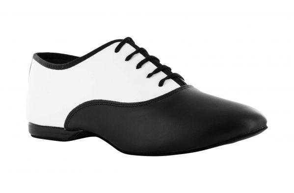 Scarpa Da Ballo Stringata In Pelle Bianco E Nero Tacco 1 Cm