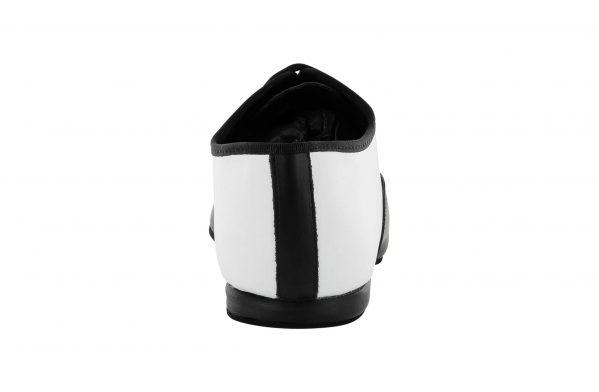 Scarpa Da Ballo Stringata In Pelle Bianco E Nero Tacco 1 Cm Back
