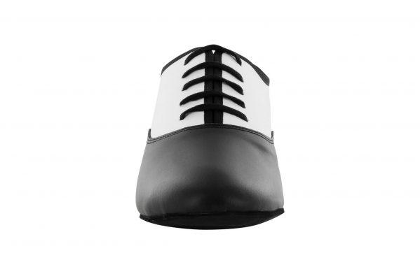Scarpa Da Ballo Stringata In Pelle Bianco E Nero Tacco 1 Cm Front