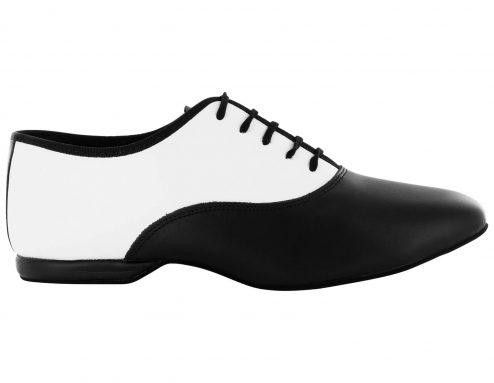 Scarpa Da Ballo Stringata In Pelle Bianco E Nero Tacco 1 Cm Right
