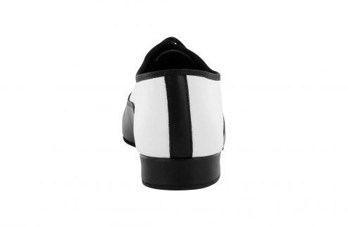 Scarpa Da Ballo Stringata In Pelle Bianco E Nero Tacco 2 5 Cm Back