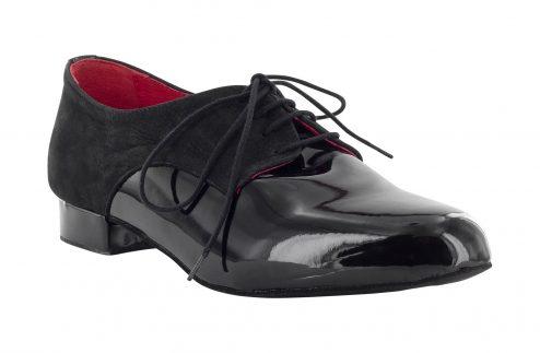 Scarpa Da Ballo Stringata In Vernice E Nabuck Nero Modello Derby Tacco 2 5 Cm