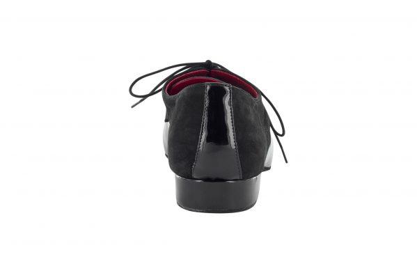 Scarpa Da Ballo Stringata In Vernice E Nabuck Nero Modello Derby Tacco 2 5 Cm Back