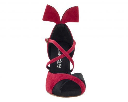 Scarpa Da Ballo Tango In Raso Nero E Pelle Scamosciata Rossa Con Fiocco Suola In Vero Cuoio Tacco 8 5 Cm Front