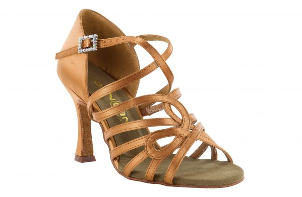 scarpa da ballo in raso con listini incrociati 5 fasce tacco 7,5 cm