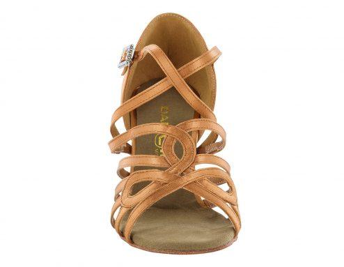 scarpa da ballo in raso con listini incrociati 5 fasce tacco 7,5 cm front