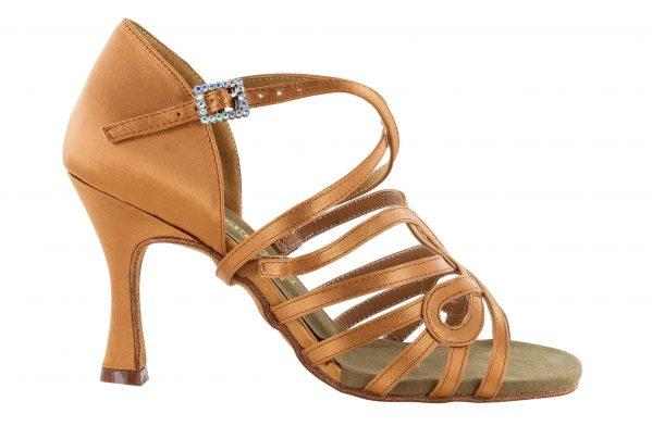 scarpa da ballo in raso con listini incrociati 5 fasce tacco 7,5 cm right