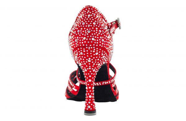 Scarpa Da Ballo Limited Edition Manola Aillaud In Raso Rosso Tacco 10 Cm Back