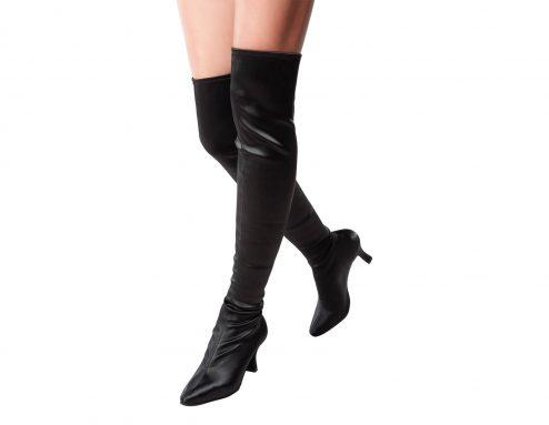Stivali Da Ballo Dancin Limited Edition In Raso Seta Elasticizzato Nero Altezza Sopra Al Ginocchio Tacco 7 5 Cm 1