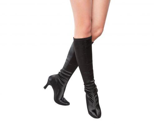 Stivali Da Ballo Dancin Limited Edition In Raso Seta Elasticizzato Nero Altezza Sotto Al Ginocchio Tacco 7 5 Cm