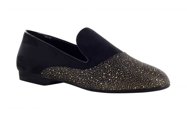 Mocassino Da Ballo Uomo Limited Edition Eduardo Oyola In Pregiato Tessuto Thread And Splashes Gold E Camoscio Tc 1 5 Cm