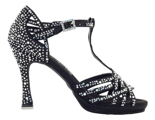 Scarpa Da Ballo Limited Edition Arianna Bazzini Con Plateau In Raso Nero Con Listini Incrociati 6 Fasce Tacco 10 Cm Right