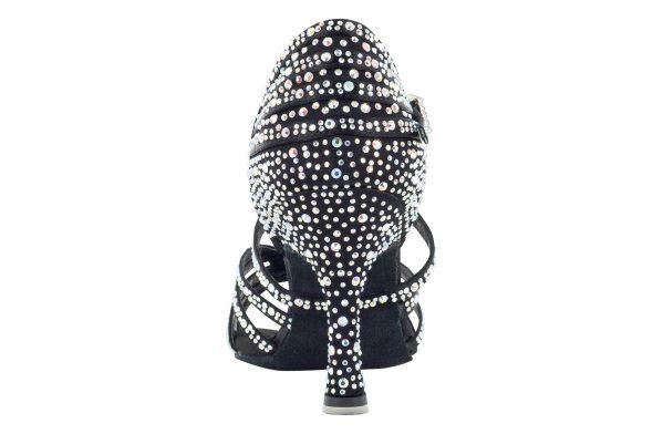 Scarpa Da Ballo Limited Edition In Raso Nero Con Listini Incrociati 5 Fasce Tacco 75 Cm Back