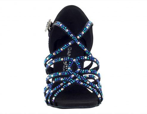 Scarpa Da Ballo In Raso Nero Con Listini Incrociati Con Crystal Strass Boreali Blu Cobalto E Blu Capri Tacco 75 Cm Front