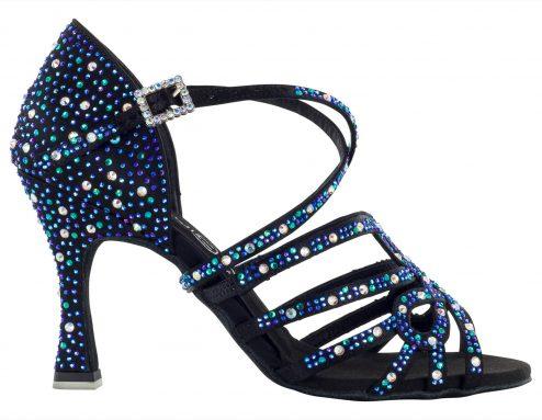 Scarpa Da Ballo In Raso Nero Con Listini Incrociati Con Crystal Strass Boreali Blu Cobalto E Blu Capri Tacco 75 Cm Right