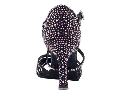 Scarpa Da Ballo Limited Edition In Raso Nero Con Listini Incrociati Crystal Strass Rosa E Boreali Tacco 75 Cm Back