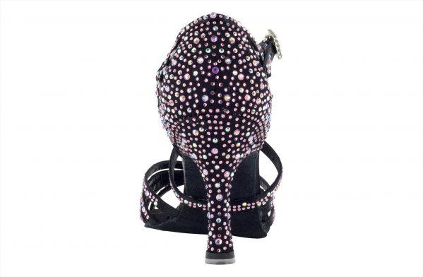 Scarpa Da Ballo Limited Edition In Raso Nero Con Listini Incrociati Crystal Strass Rosa E Boreali Tacco 75 Cm Back