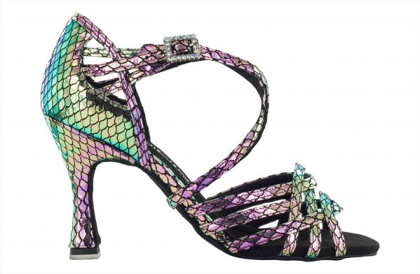 Scarpa Da Ballo Limited Edition In Vera Pelle Colore Iridescente Metal Aurora Boreale Tacco 75 Cm Right