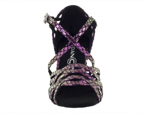Scarpa Da Ballo Limited Edition In Vera Pelle Colore Iridescente Metal Purple Tacco 75 Cm Front