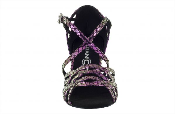 Scarpa Da Ballo Limited Edition In Vera Pelle Colore Iridescente Metal Purple Tacco 75 Cm Front