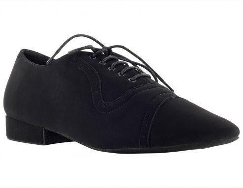 Scarpa Da Ballo Stringata In Nabuk Colore Nero Tacco 25 Cm