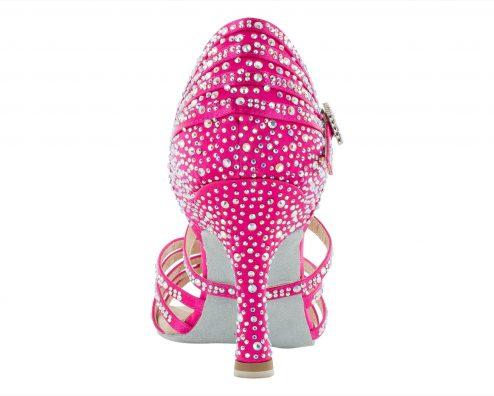 Scarpa Da Ballo Limited Edition Honghuada Fuxia Con Listini Incrociati 5 Fasce Tacco 75 Cm Back