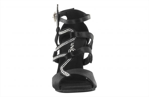 Sandalo Ballo Donna Con Motivo Snake In Raso Nero Tacco 7 5 Cm Front