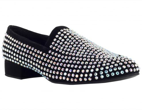 Scarpa Da Ballo Mocassino Limited Edition In Tessuto Nabuk Con Crystal Strass Tc 25 Cm