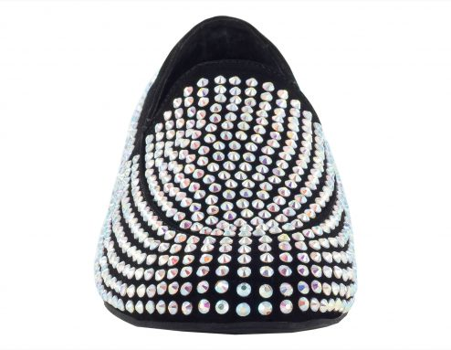 Scarpa Da Ballo Mocassino Limited Edition In Tessuto Nabuk Con Crystal Strass Tc 25 Cm Front