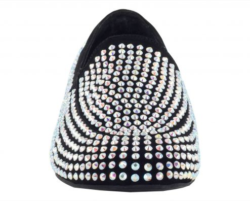 Scarpa Da Ballo Mocassino Limited Edition In Tessuto Nabuk Con Crystal Strass Tc 25 Cm Front