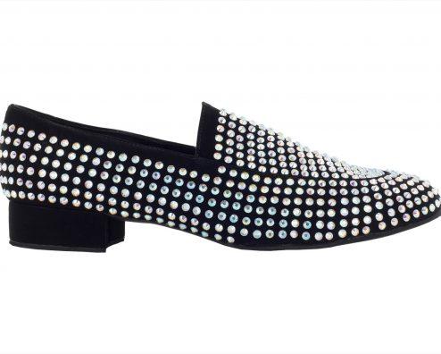Scarpa Da Ballo Mocassino Limited Edition In Tessuto Nabuk Con Crystal Strass Tc 25 Cm Right