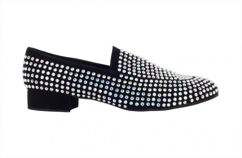 Scarpa Da Ballo Mocassino Limited Edition In Tessuto Nabuk Con Crystal Strass Tc 25 Cm Right 1