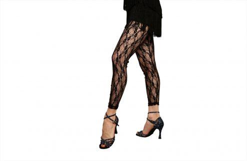 Legging In Pizzo Elasticizzato Colore Nero