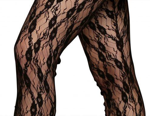 Legging In Pizzo Elasticizzato Colore Nero Dettaglio