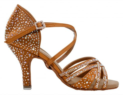 Scarpa Da Ballo 5 Fasce Con Crystal Strass In Raso Dark Flesh Tacco 8 5 Cm Right