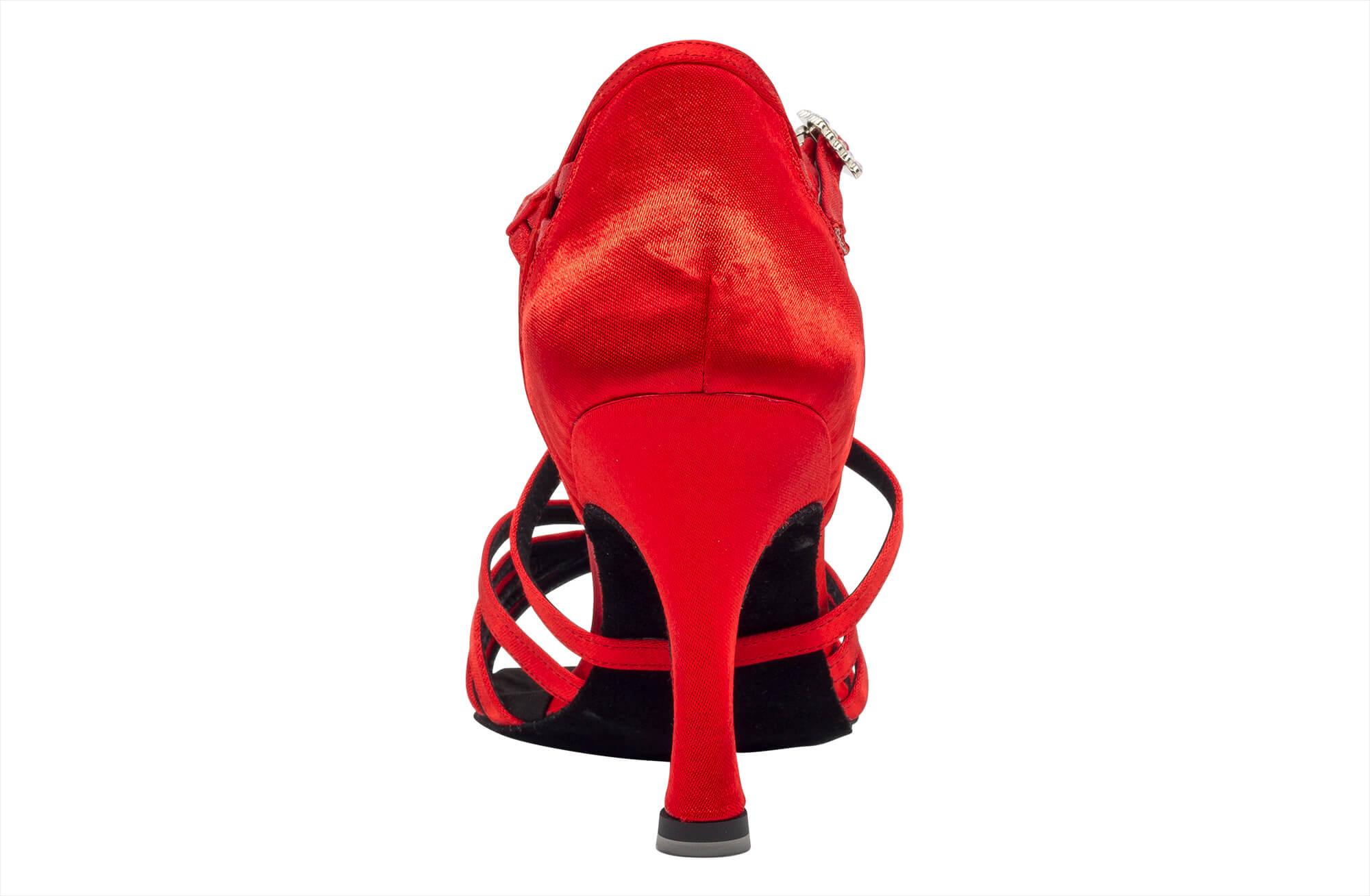 Scarpa Da Ballo In Raso Rosso Cipria 5 Fasce Tacco Cm 8 Back