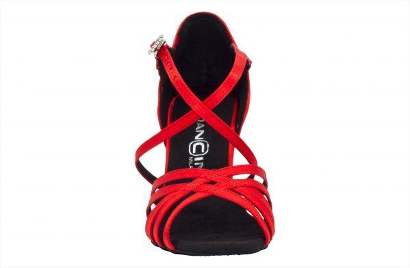 Scarpa Da Ballo In Raso Rosso Cipria 5 Fasce Tacco Cm 8 Front