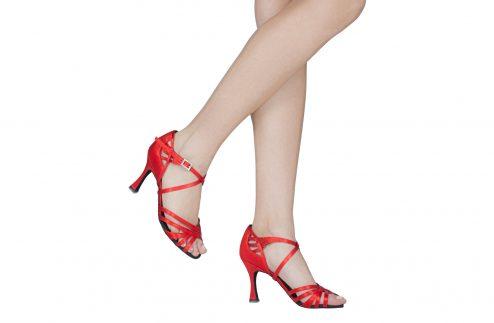 Scarpa Da Ballo In Raso Rosso Cipria 5 Fasce Tacco Cm 8 Indossato