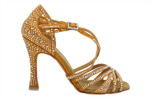 Scarpa Da Ballo In Raso Flesh Con Crystal Strass 5 Fasce Tacco 10 Cm Right