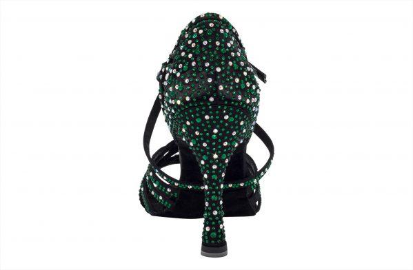 Scarpa Da Ballo In Raso Nero Con Crystal Strass Verde Smeraldo Tacco 10 Cm Back