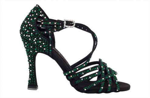 Scarpa Da Ballo In Raso Nero Con Crystal Strass Verde Smeraldo Tacco 10 Cm Right