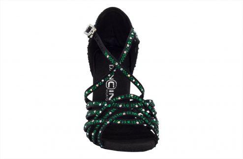 Scarpa Da Ballo In Raso Nero Con Crystal Strass Verde Smeraldo Tacco 8 Cm Front