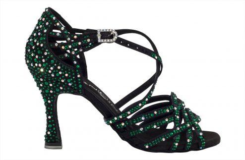 Scarpa Da Ballo In Raso Nero Con Crystal Strass Verde Smeraldo Tacco 8 Cm Right