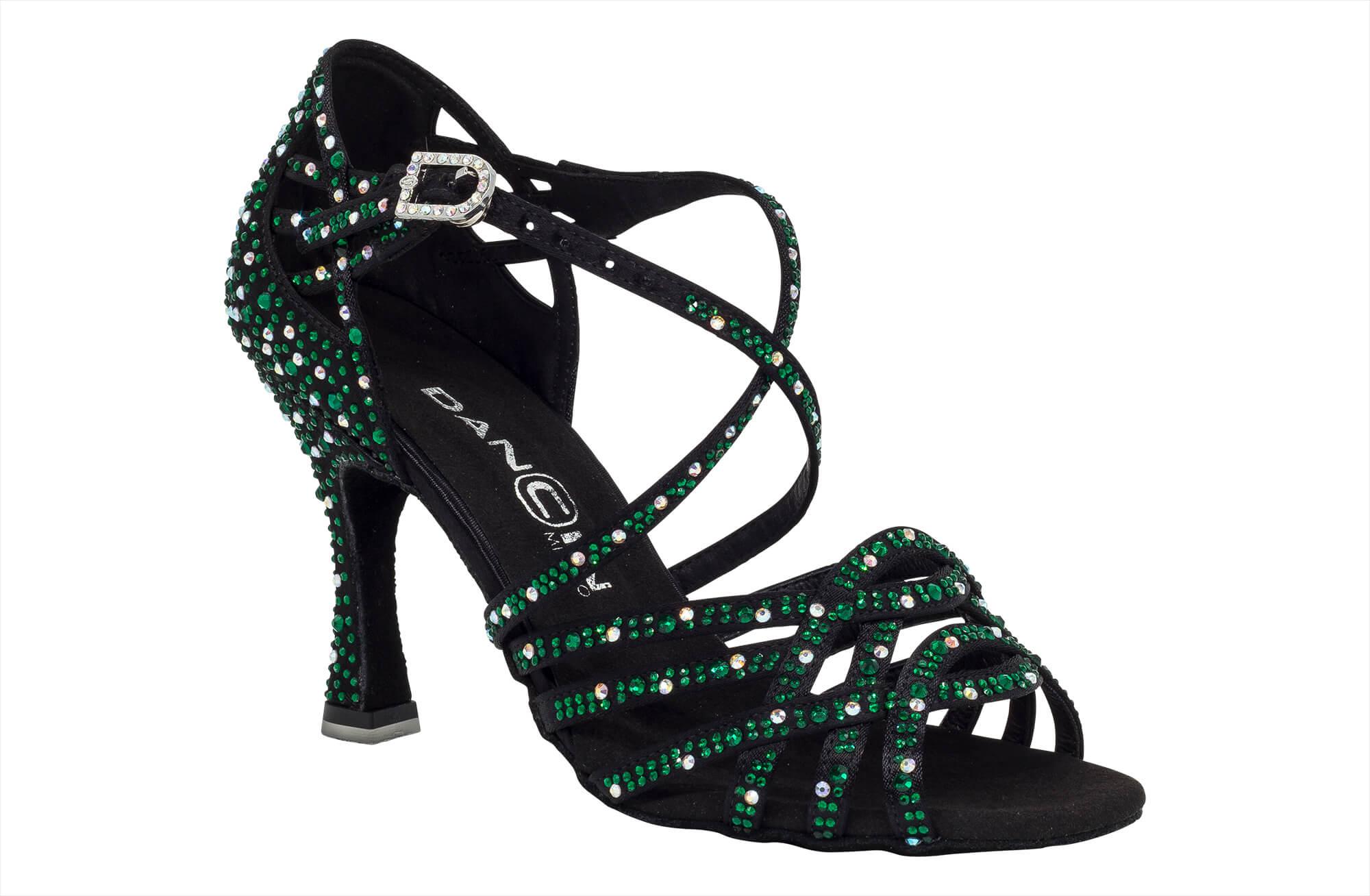 Scarpa Da Ballo In Raso Nero Con Crystal Strass Verde Smeraldo Tacco 8 Cm