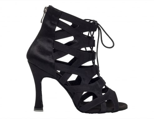 Stivaletto Da Ballo Special Edition Paola Con Fasce Incrociate In Raso Nero Tacco 10 Cm Right