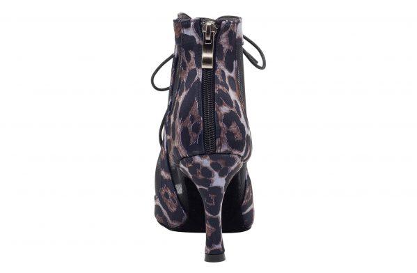 Stivaletto Da Ballo Special Edition In Raso Nero Con Motivo Leopard Black Purple Tacco Cm 8 5 Cm Back