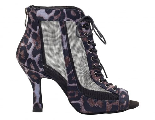 Stivaletto Da Ballo Special Edition In Raso Nero Con Motivo Leopard Black Purple Tacco Cm 8 5 Cm Right